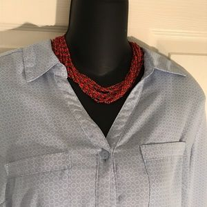 NY Collection Tops - Light blue button down